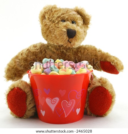 Valentine's Day Bear with Bucket of Candy Hearts - stock photo