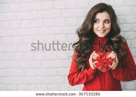 Valentine's Day - Beauty happy girl with Valentine gift box. - stock photo