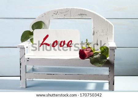 Valentine's Day. Bench for lovers. - stock photo