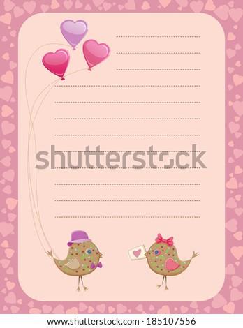 Valentine's day birds sharing presents notepad - stock photo