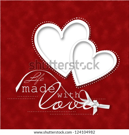 Valentine's Day Card.beautiful red background with frame-heart - stock photo