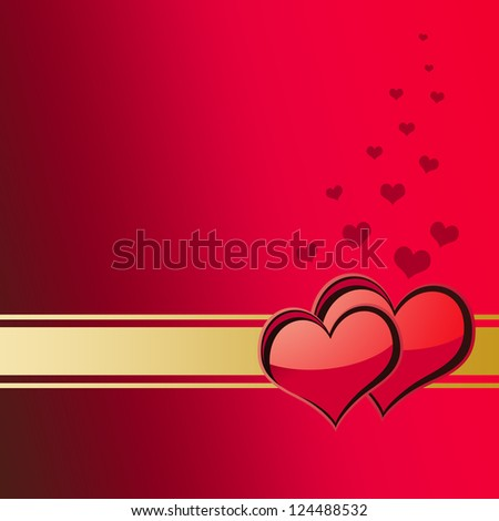Valentine's Day card illustration with copy-space. - stock photo