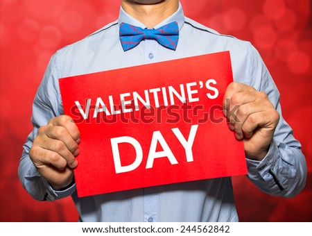 Valentine's day card on red bokeh background - stock photo