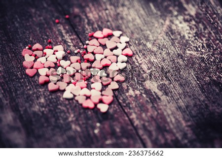 Valentine's day card with heart on wooden background / romantic love background  - stock photo