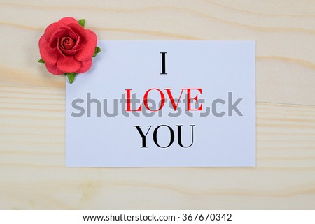 Valentine's day card with i love you - stock photo