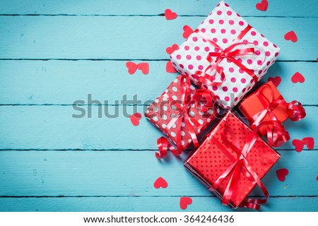 Valentine's day concept on wooden background.