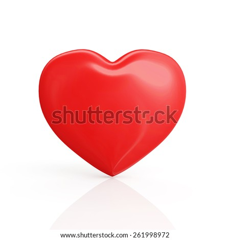 Valentine's Day concept. Shiny big red heart isolated on white reflective background - stock photo