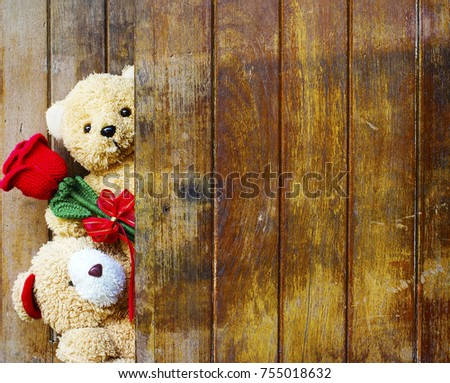 Teddy bear love stock images royalty free images vectors valentines day concept with cute teddy bears toy clutching a red rose in its arms on voltagebd Image collections