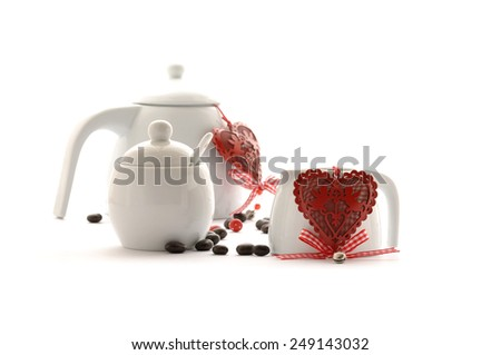 Valentine's day cup with heart shape - stock photo