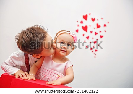 Valentine's Day -  cute children. Series of photos - stock photo