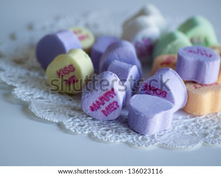 Valentine's day decorations. Conversation heart candy. - stock photo