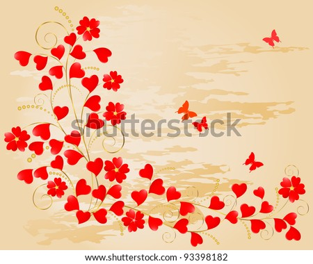 Valentine's Day. Floral grunge background with hearts and butterflies. Raster version. - stock photo