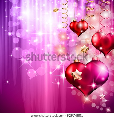 Valentine's Day Flyer with a glitter vintage background, and glossy red hearts flying over the air. - stock photo
