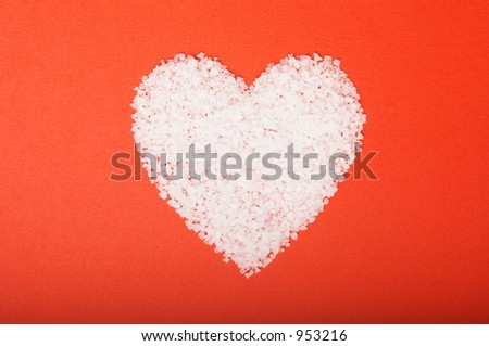 valentine's day heart - salt in a heart shape - stock photo