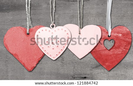 Valentine''s day heart shaped ornament decoration on rustic style background - stock photo