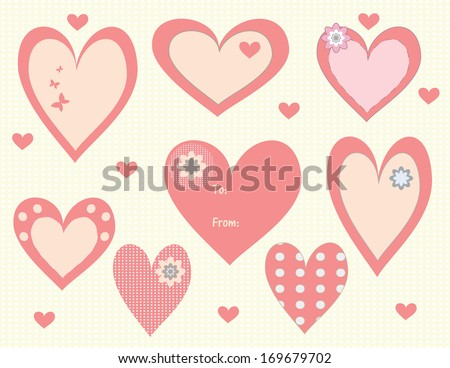 Valentine's Day heart tags and labels