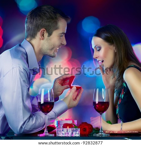 Valentine's Day. Marriage Proposal - stock photo