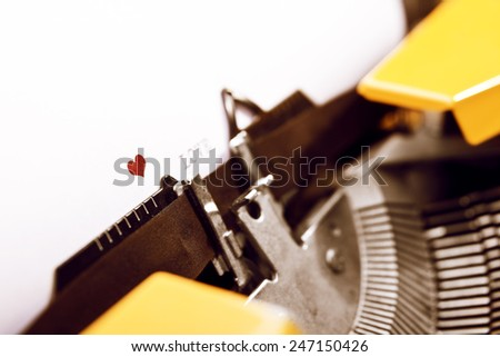 Valentine's Day Message with an old typewriter  - stock photo