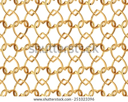Valentine's day pattern with seamless golden jewelry hearts isolated on white background. 3d render repeating texture  - stock photo