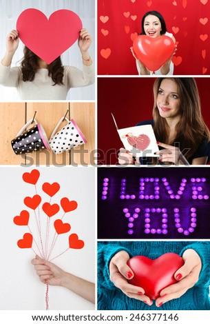 Valentine's Day photo collage - stock photo