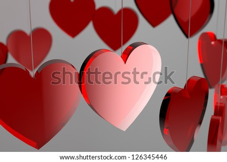 Valentine's Day Red Hearts (3D render) - stock photo