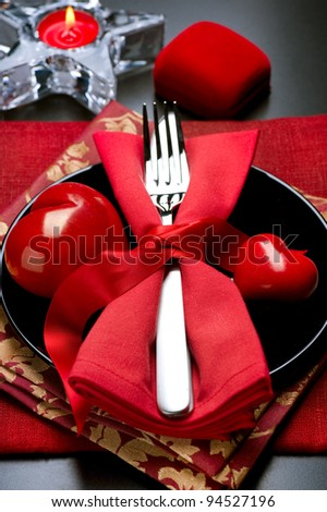 Valentine's Day Romantic Dinner. Table Setting