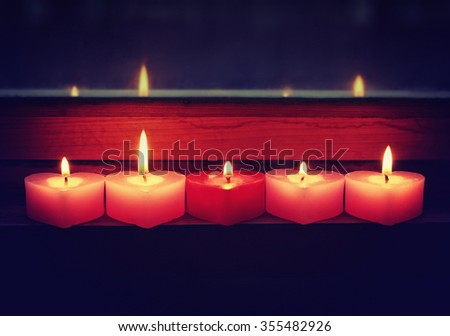 Valentine's Day romantic evening with candles background window
