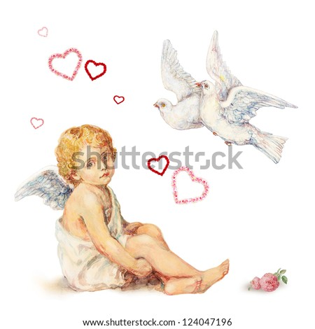 Valentine's Day set:  sitting angel, doves and roses hearts - stock photo