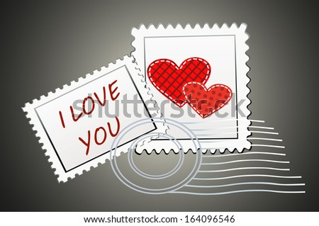 Valentine's Day-themed stamps - stock photo