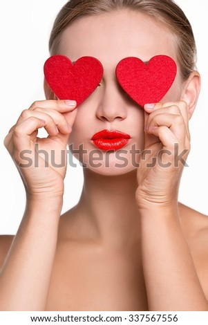 Valentine's Day. Woman holding Valentines Day heart