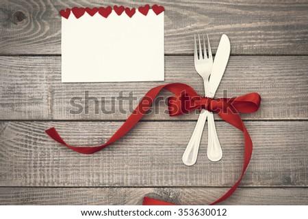 Valentine's dinner with big love - stock photo