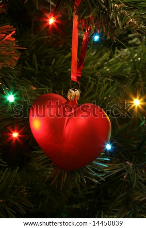 Valentine's heart as Christmas decoration - stock photo