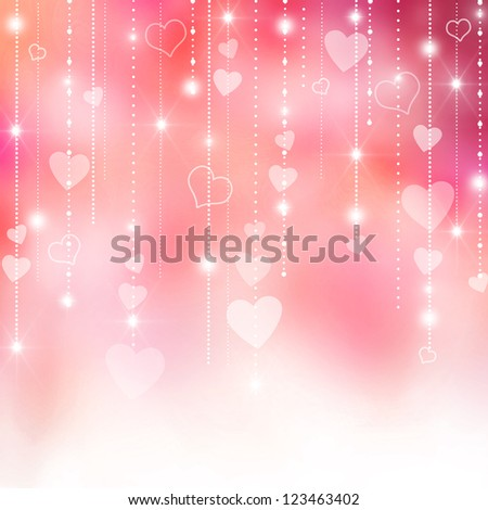 Valentine's love hearts pink and purple background - stock photo