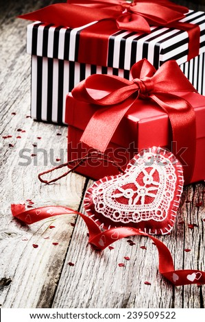 Valentine's setting with presents and festive decoration  - stock photo