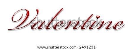 Valentine sign 3d text - stock photo