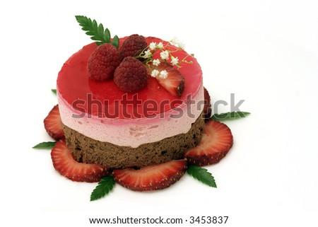 Valentine strawberry mousse cake - stock photo