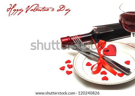 Valentine table setting - stock photo