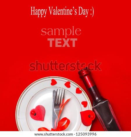 Valentine table setting - stock photo