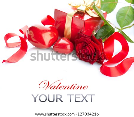 Valentine. Valentines Hearts, Rose Flower and Gift Box isolated on white Background. Red Valentine's Day Border Art Design - stock photo