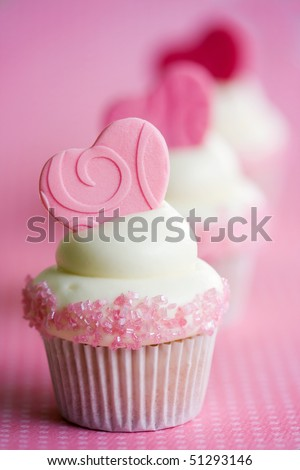 Valentines cupcakes - stock photo