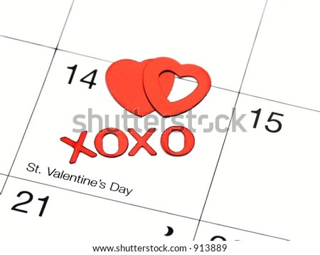 valentines date on calender with xoxo and hearts,shallow dof - stock photo