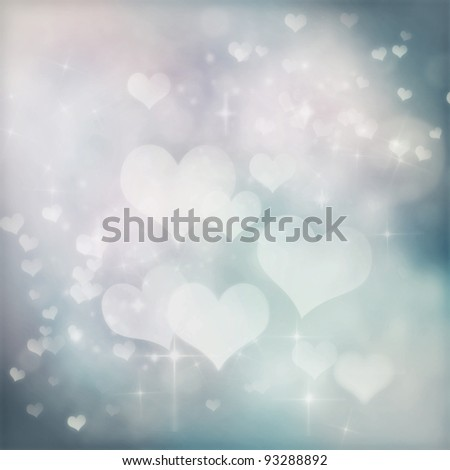 Valentines day abstract background with  bokeh lights and stars - stock photo