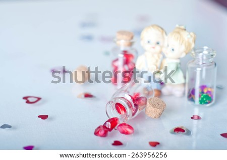 Valentines day. Abstract cards with paper hearts - stock photo