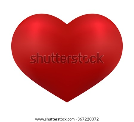 Valentines day abstract. Isolated red heart on white background,