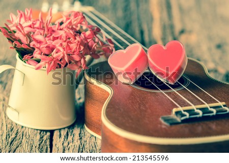 Valentines Day background with hearts and guitar. - stock photo