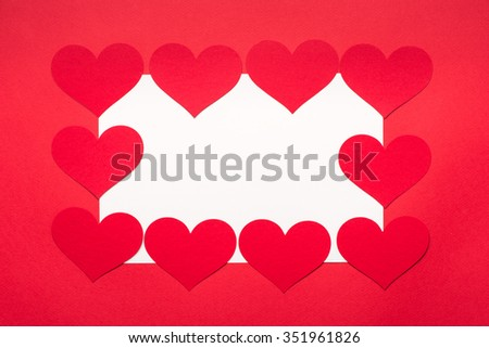 Valentines Day background with hearts. Red Hearts On White Background For Valentines Day, Valentines Card, Love