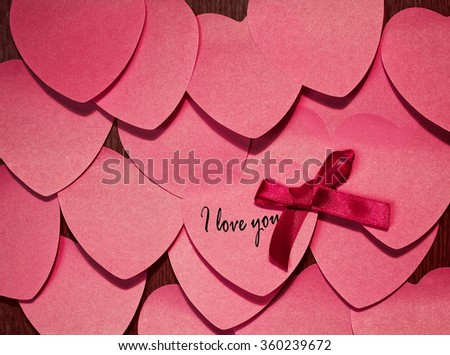 Valentines Day background with many heart shape stickers - stock photo