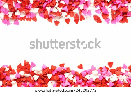 Valentines Day candy heart double edge border of red, white and pink sprinkles - stock photo