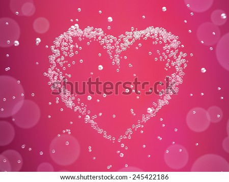Valentines day card �¢?? heart formed from champagne bubbles - stock photo