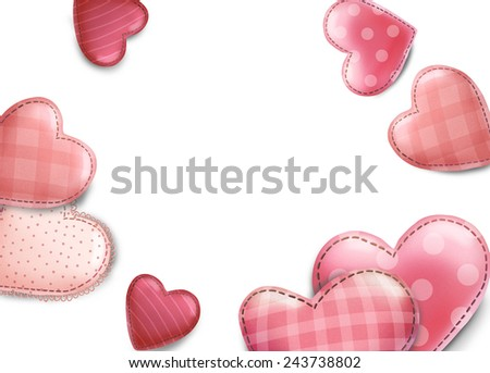 Valentines Day card illustration, with pink hearts and place for your text
